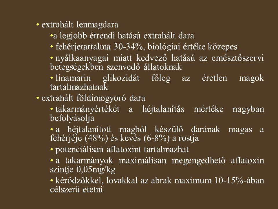 extrahált lenmagdara a legjobb étrendi hatású extrahált dara fehérjetartalma 30-34%, biológiai értéke közepes nyálkaanyagai miatt kedvező hatású az emésztőszervi betegségekben szenvedő állatoknak linamarin glikozidát főleg az éretlen magok tartalmazhatnak extrahált földimogyoró dara takarmányértékét a héjtalanítás mértéke nagyban befolyásolja a héjtalanított magból készülő darának magas a fehérjéje (48%) és kevés (6-8%) a rostja potenciálisan aflatoxint tartalmazhat a takarmányok maximálisan megengedhető aflatoxin szintje 0,05mg/kg kérődzőkkel, lovakkal az abrak maximum 10-15%-ában célszerű etetni