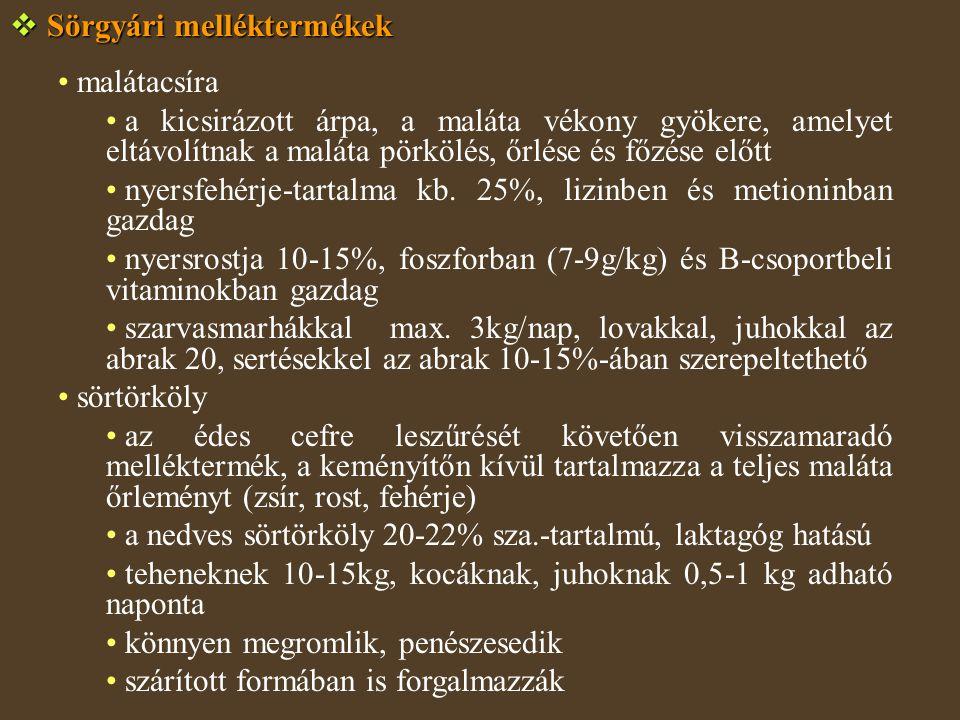  Sörgyári melléktermékek malátacsíra a kicsirázott árpa, a maláta vékony gyökere, amelyet eltávolítnak a maláta pörkölés, őrlése és főzése előtt nyersfehérje-tartalma kb.