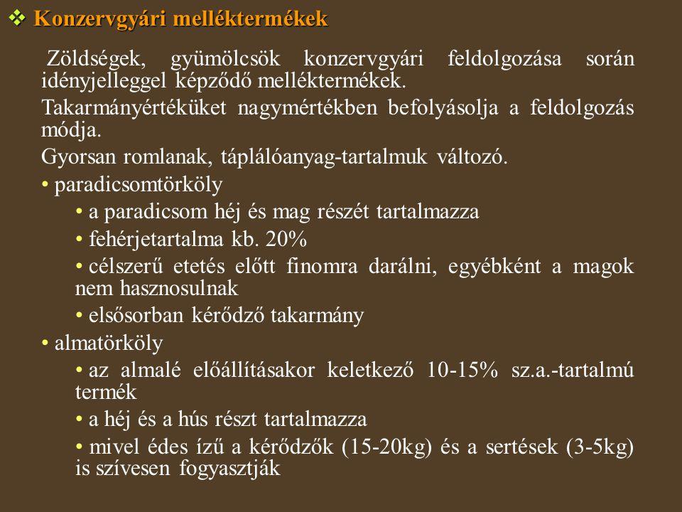  Konzervgyári melléktermékek Zöldségek, gyümölcsök konzervgyári feldolgozása során idényjelleggel képződő melléktermékek.