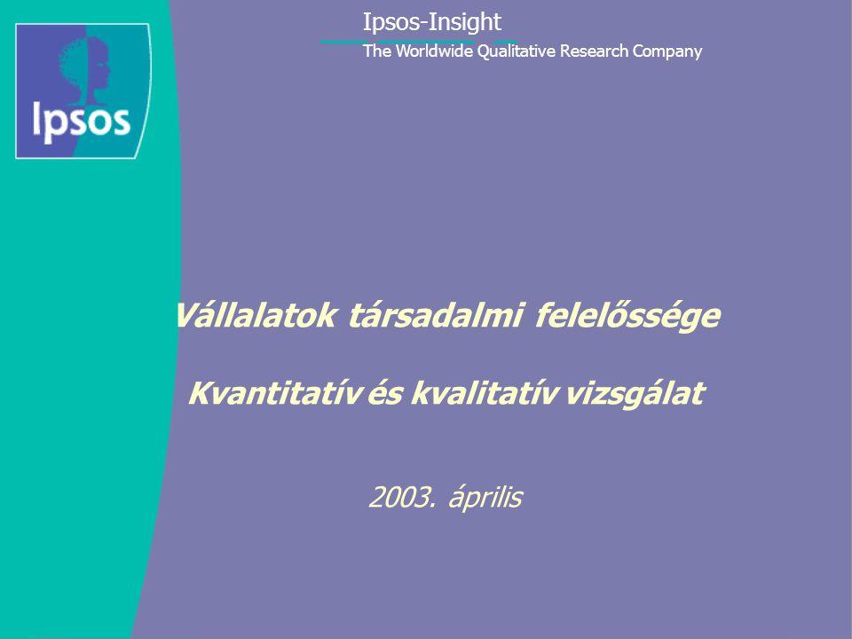 Ipsos-Insight The Worldwide Qualitative Research Company 1 Vállalatok társadalmi felelőssége Kvantitatív és kvalitatív vizsgálat 2003.