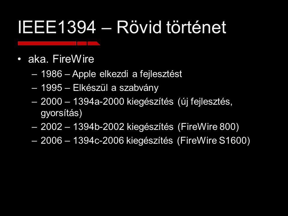 IEEE1394 – Fast vs.