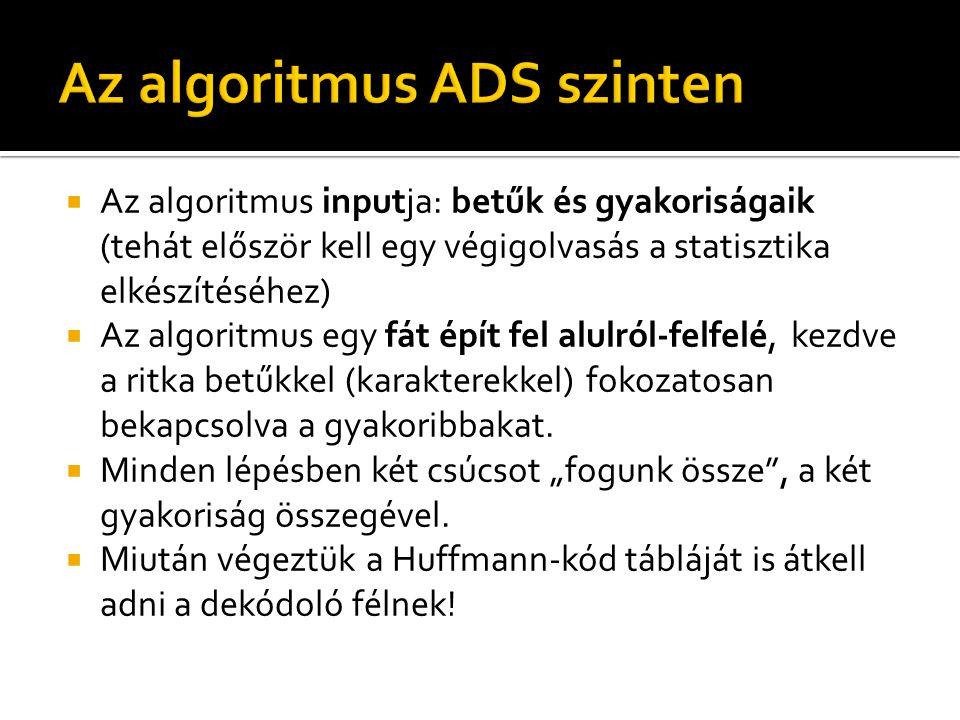  Az algoritmus inputja: betűk és gyakoriságaik (tehát először kell egy végigolvasás a statisztika elkészítéséhez)  Az algoritmus egy fát épít fel alulról-felfelé, kezdve a ritka betűkkel (karakterekkel) fokozatosan bekapcsolva a gyakoribbakat.