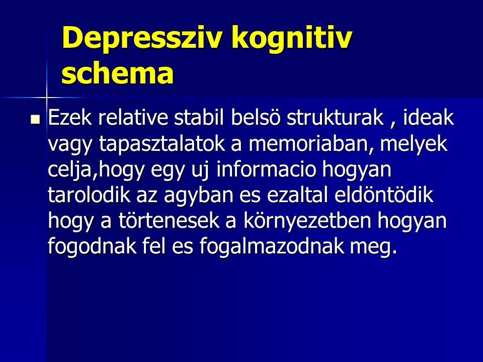 Depressziv kognitiv schema Ezek relative stabil belsö strukturak, ideak vagy tapasztalatok a memoriaban, melyek celja,hogy egy uj informacio hogyan ta