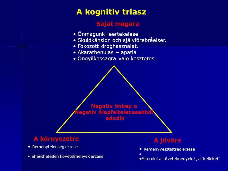 A kognitiv triasz Sajat magara A jövöre A környezetre Önmagunk leertekelese Skuldkänslor och självförebråelser. Fokozott droghasznalat. Akaratbenulas