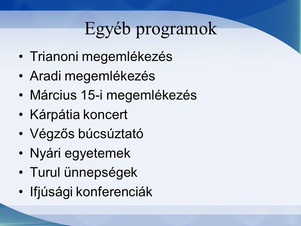 Trianoni megemlékezés Aradi megemlékezés Március 15-i megemlékezés Kárpátia koncert Végzős búcsúztató Nyári egyetemek Turul ünnepségek Ifjúsági konfer
