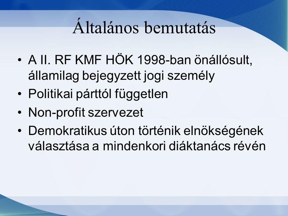Általános bemutatás A II. RF KMF HÖK 1998-ban önállósult, államilag bejegyzett jogi személy Politikai párttól független Non-profit szervezet Demokrati