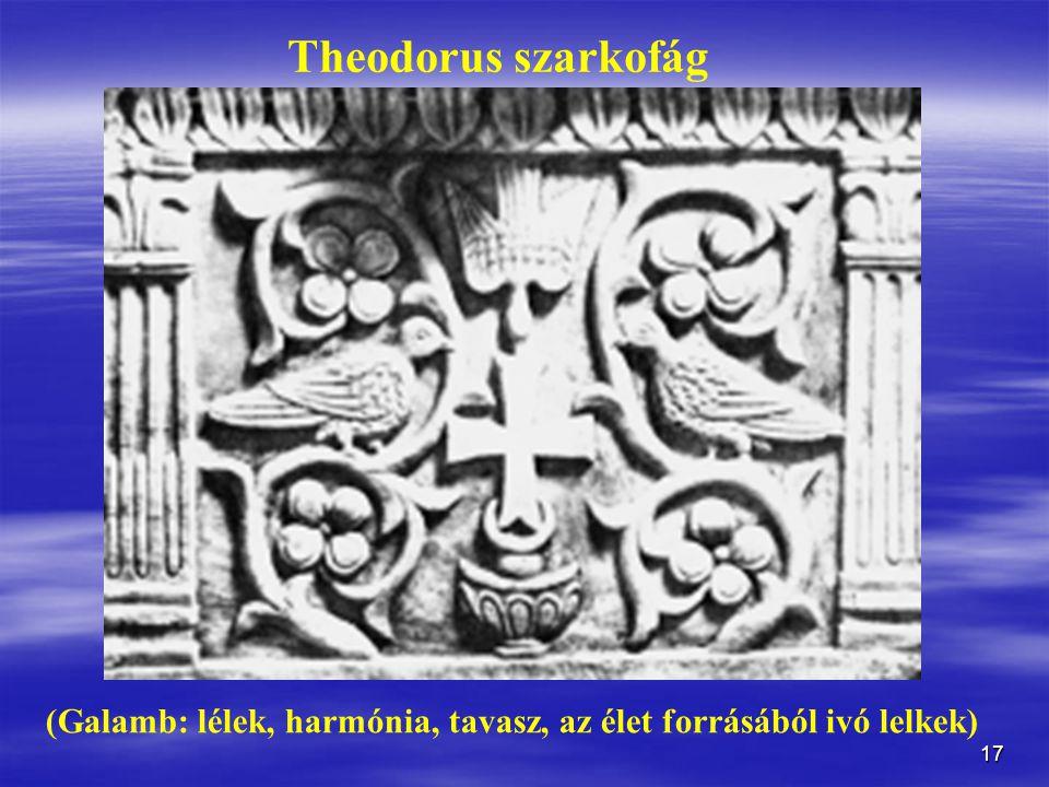 17 Theodorus szarkofág (Galamb: lélek, harmónia, tavasz, az élet forrásából ivó lelkek)