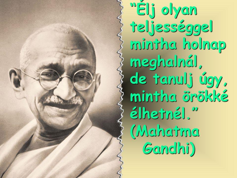 Élj olyan teljességgel mintha holnap meghalnál, de tanulj úgy, mintha örökké élhetnél. (Mahatma Gandhi) Gandhi)