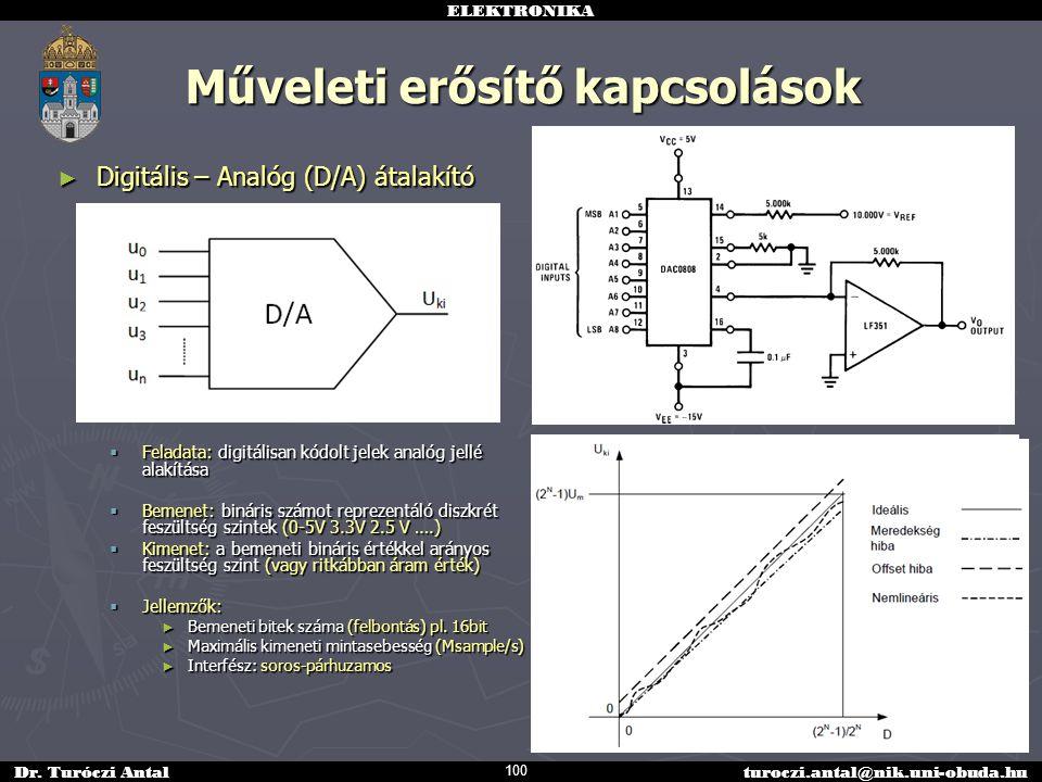 ELEKTRONIKA Dr. Turóczi Antalturoczi.antal@nik.uni-obuda.hu Műveleti erősítő kapcsolások ► Digitális – Analóg (D/A) átalakító  Feladata: digitálisan