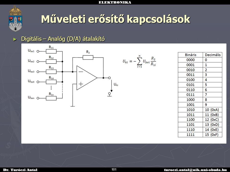 ELEKTRONIKA Dr. Turóczi Antalturoczi.antal@nik.uni-obuda.hu Műveleti erősítő kapcsolások ► Digitális – Analóg (D/A) átalakító 101