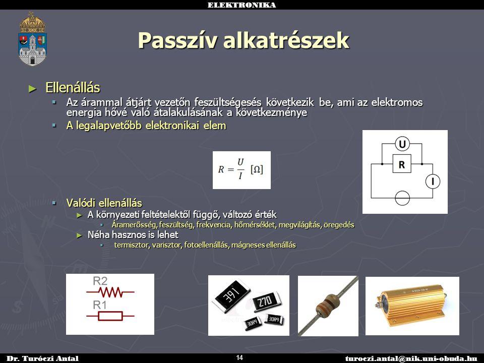 ELEKTRONIKA Dr. Turóczi Antalturoczi.antal@nik.uni-obuda.hu Passzív alkatrészek ► Ellenállás  Az árammal átjárt vezetőn feszültségesés következik be,
