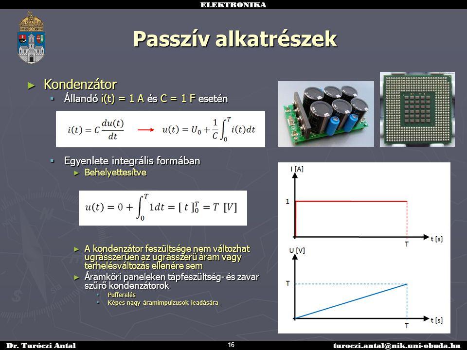 ELEKTRONIKA Dr. Turóczi Antalturoczi.antal@nik.uni-obuda.hu Passzív alkatrészek ► Kondenzátor  Állandó i(t) = 1 A és C = 1 F esetén  Egyenlete integ