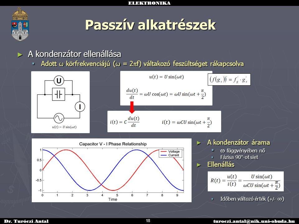 ELEKTRONIKA Dr. Turóczi Antalturoczi.antal@nik.uni-obuda.hu Passzív alkatrészek ► A kondenzátor ellenállása  Adott  körfrekvenciájú (  = 2  f) vál