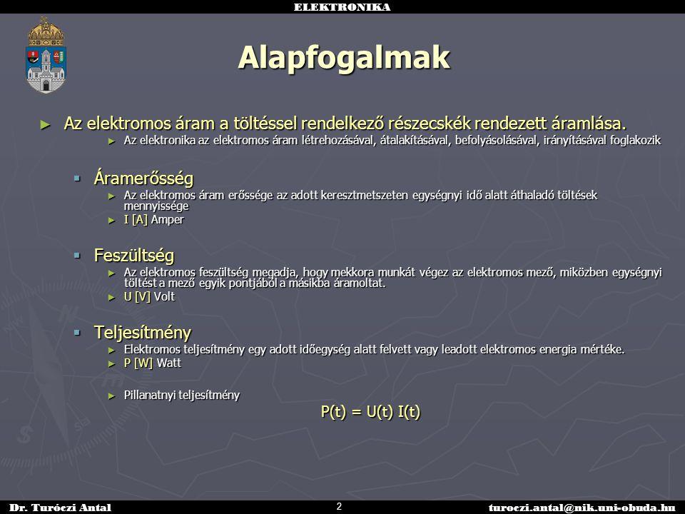 ELEKTRONIKA Dr. Turóczi Antalturoczi.antal@nik.uni-obuda.hu Alapfogalmak ► Az elektromos áram a töltéssel rendelkező részecskék rendezett áramlása. ►