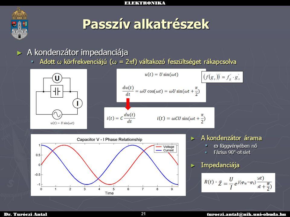 ELEKTRONIKA Dr. Turóczi Antalturoczi.antal@nik.uni-obuda.hu Passzív alkatrészek ► A kondenzátor impedanciája  Adott  körfrekvenciájú (  = 2  f) vá