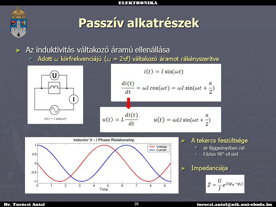 ELEKTRONIKA Dr. Turóczi Antalturoczi.antal@nik.uni-obuda.hu Passzív alkatrészek ► Az induktivitás váltakozó áramú ellenállása  Adott  körfrekvenciáj