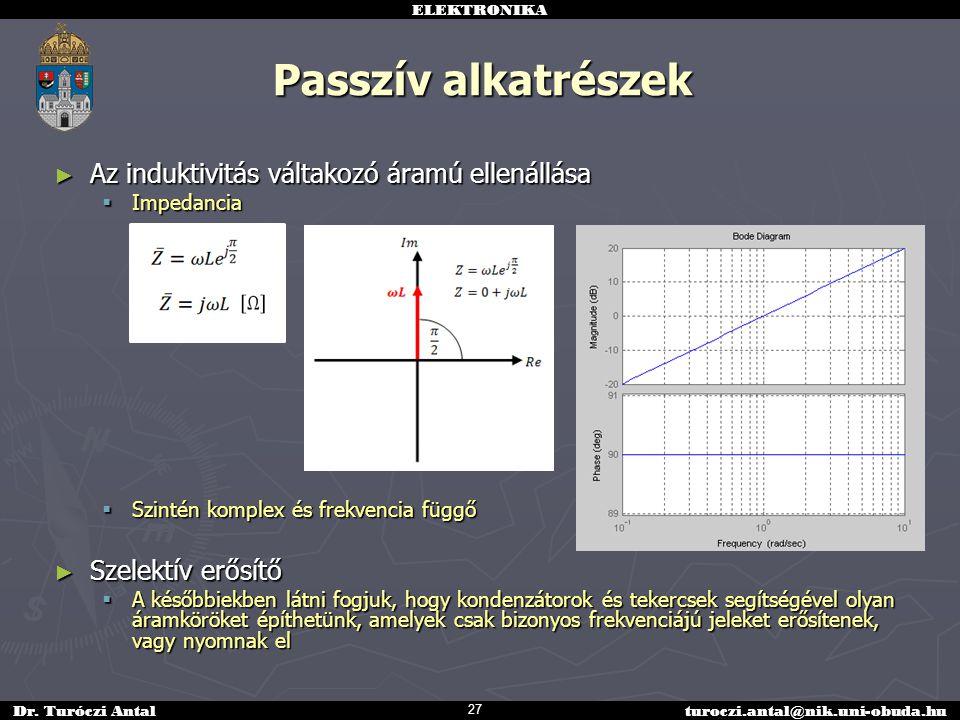 ELEKTRONIKA Dr. Turóczi Antalturoczi.antal@nik.uni-obuda.hu Passzív alkatrészek ► Az induktivitás váltakozó áramú ellenállása  Impedancia  Szintén k