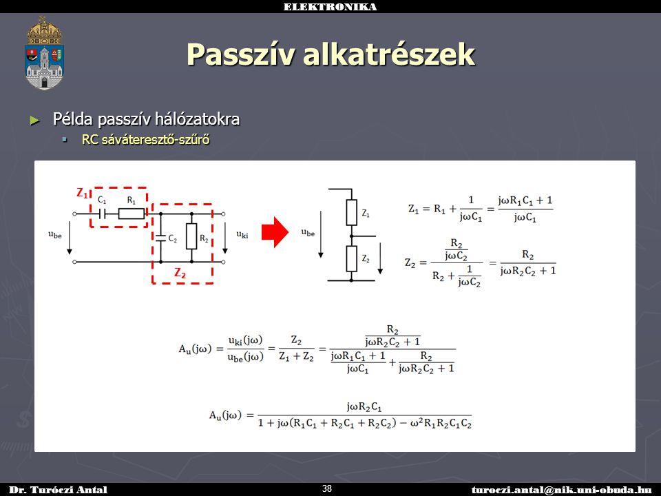ELEKTRONIKA Dr. Turóczi Antalturoczi.antal@nik.uni-obuda.hu Passzív alkatrészek ► Példa passzív hálózatokra  RC sáváteresztő-szűrő 38 Z1Z1 Z2Z2