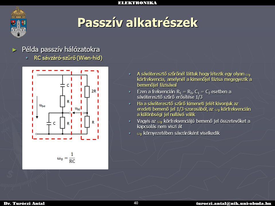 ELEKTRONIKA Dr. Turóczi Antalturoczi.antal@nik.uni-obuda.hu Passzív alkatrészek ► Példa passzív hálózatokra  RC sávzáró-szűrő (Wien-híd) 40  A sávát