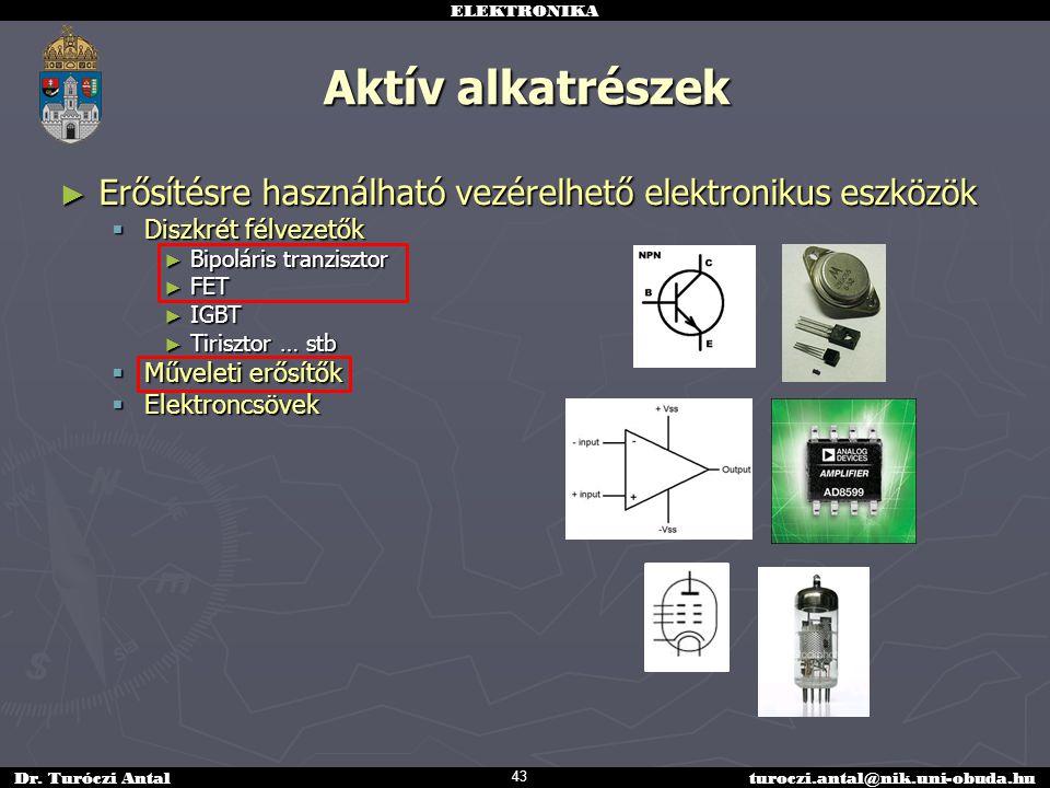 ELEKTRONIKA Dr. Turóczi Antalturoczi.antal@nik.uni-obuda.hu Aktív alkatrészek ► Erősítésre használható vezérelhető elektronikus eszközök  Diszkrét fé