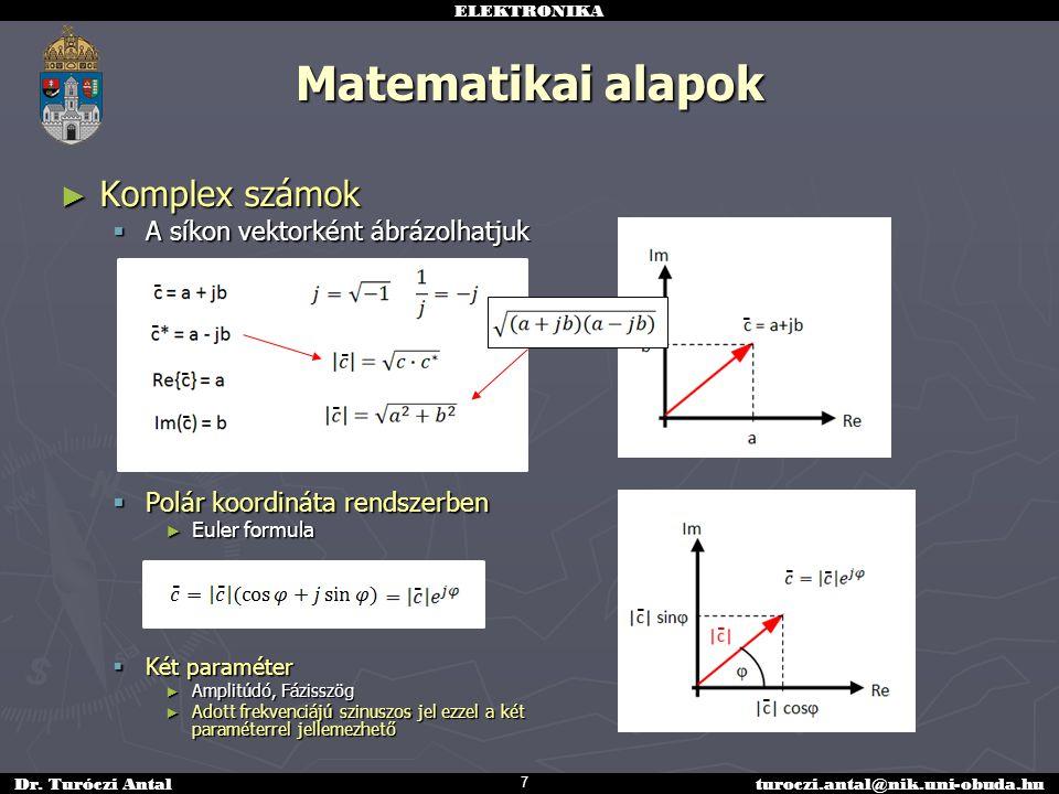 ELEKTRONIKA Dr. Turóczi Antalturoczi.antal@nik.uni-obuda.hu ► Komplex számok  A síkon vektorként ábrázolhatjuk  Polár koordináta rendszerben ► Euler