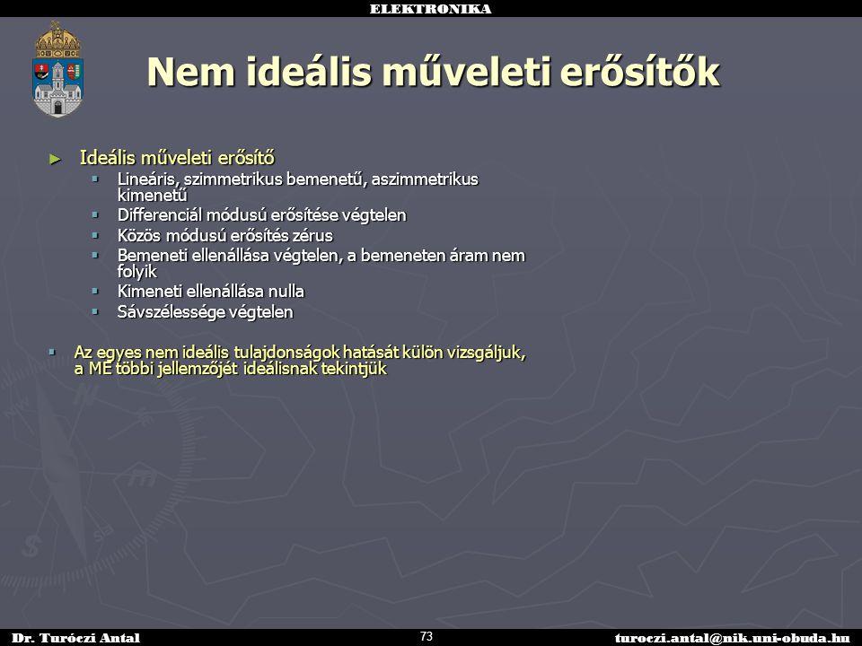 ELEKTRONIKA Dr. Turóczi Antalturoczi.antal@nik.uni-obuda.hu Nem ideális műveleti erősítők ► Ideális műveleti erősítő  Lineáris, szimmetrikus bemenetű