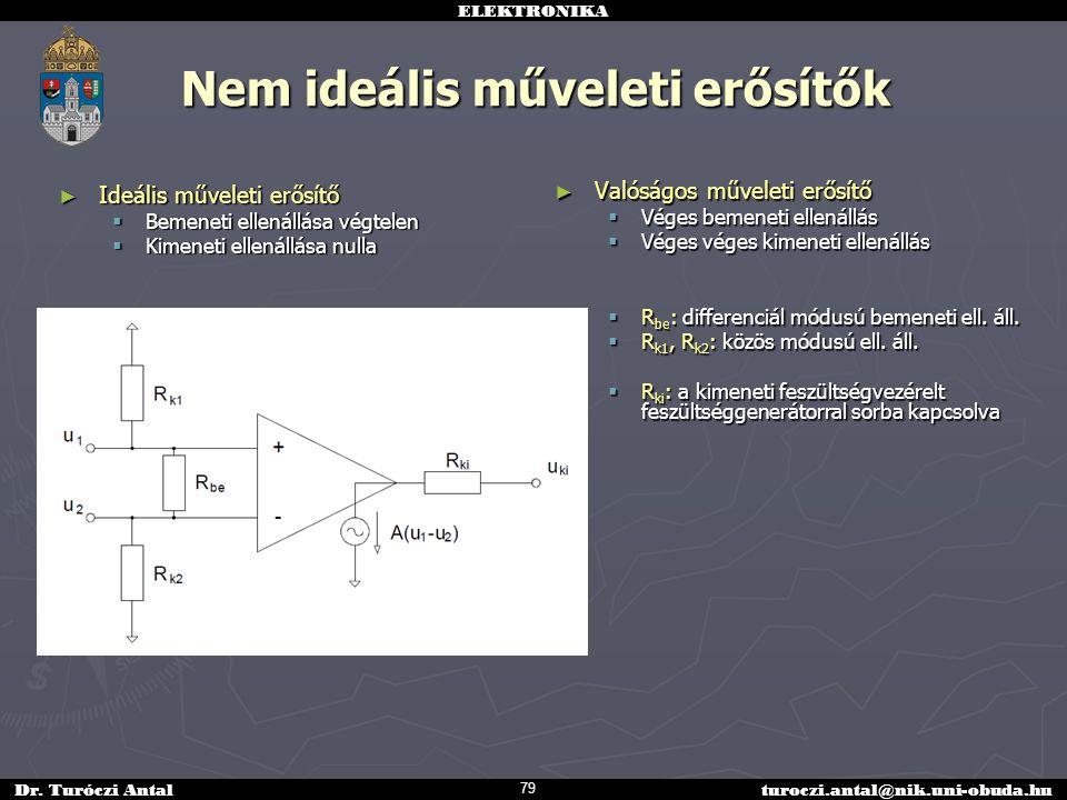 ELEKTRONIKA Dr. Turóczi Antalturoczi.antal@nik.uni-obuda.hu Nem ideális műveleti erősítők ► Ideális műveleti erősítő  Bemeneti ellenállása végtelen 
