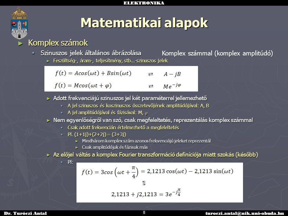 ELEKTRONIKA Dr. Turóczi Antalturoczi.antal@nik.uni-obuda.hu Matematikai alapok ► Komplex számok  Szinuszos jelek általános ábrázolása ► Feszültség-,