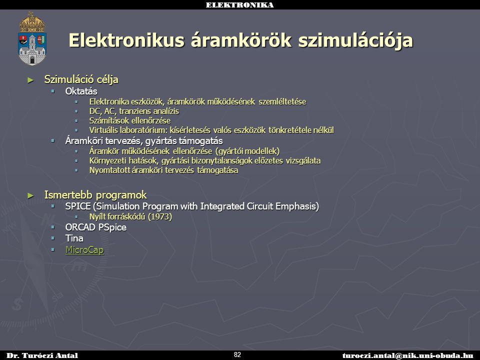 ELEKTRONIKA Dr. Turóczi Antalturoczi.antal@nik.uni-obuda.hu Elektronikus áramkörök szimulációja ► Szimuláció célja  Oktatás  Elektronika eszközök, á