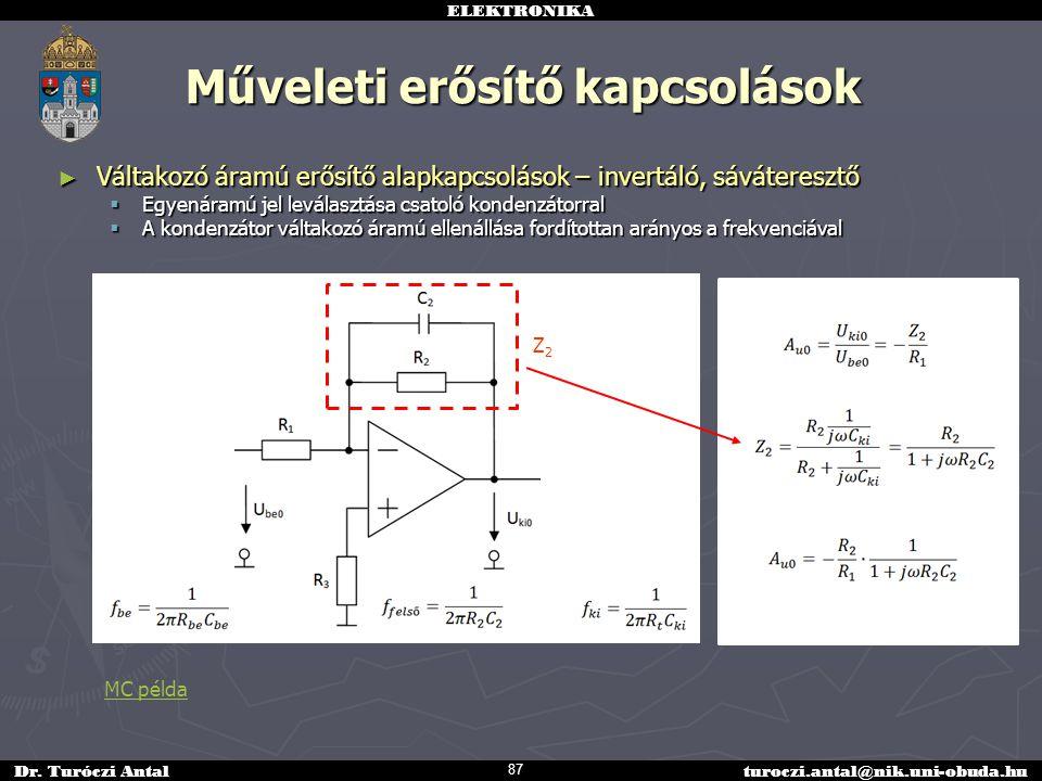 ELEKTRONIKA Dr. Turóczi Antalturoczi.antal@nik.uni-obuda.hu Műveleti erősítő kapcsolások ► Váltakozó áramú erősítő alapkapcsolások – invertáló, sáváte