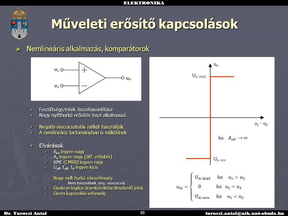 ELEKTRONIKA Dr. Turóczi Antalturoczi.antal@nik.uni-obuda.hu ► Nemlineáris alkalmazás, komparátorok  Feszültségszintek összehasonlítása  Nagy nyílthu