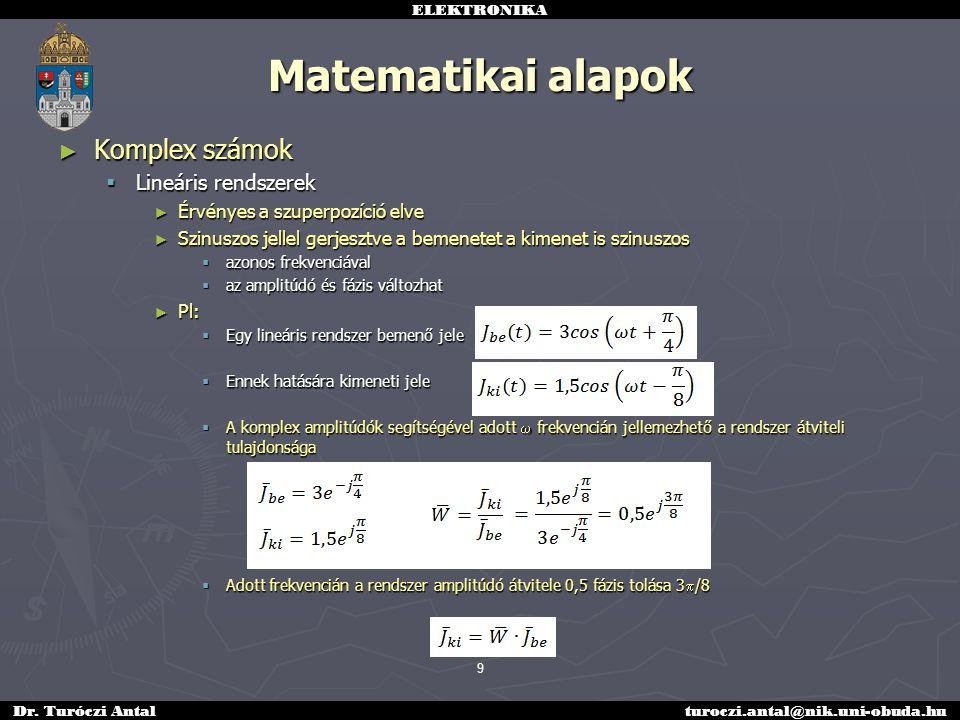 ELEKTRONIKA Dr. Turóczi Antalturoczi.antal@nik.uni-obuda.hu ► Komplex számok  Lineáris rendszerek ► Érvényes a szuperpozíció elve ► Szinuszos jellel