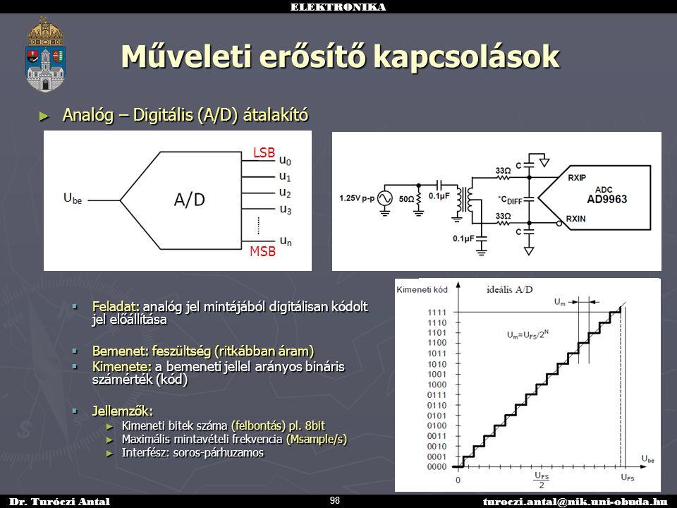 ELEKTRONIKA Dr. Turóczi Antalturoczi.antal@nik.uni-obuda.hu Műveleti erősítő kapcsolások ► Analóg – Digitális (A/D) átalakító  Feladat: analóg jel mi