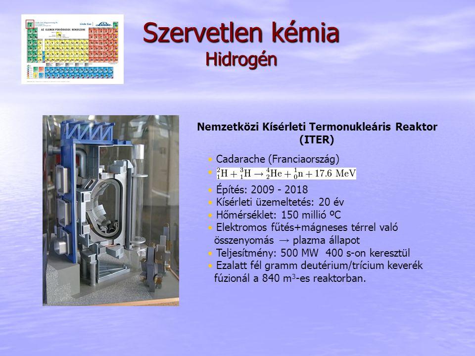 Nemzetközi Kísérleti Termonukleáris Reaktor (ITER) Cadarache (Franciaország) Építés: 2009 - 2018 Kísérleti üzemeltetés: 20 év Hőmérséklet: 150 millió ºC Elektromos fűtés+mágneses térrel való összenyomás → plazma állapot Teljesítmény: 500 MW 400 s-on keresztül Ezalatt fél gramm deutérium/trícium keverék fúzionál a 840 m 3 -es reaktorban.