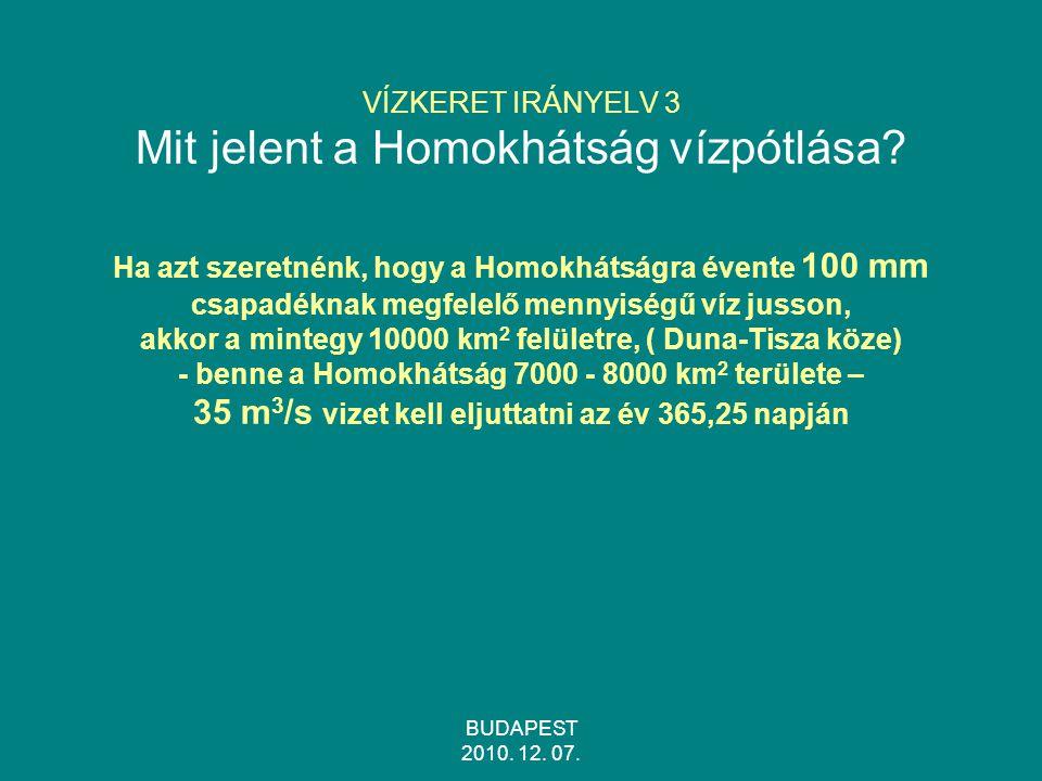 BUDAPEST 2010.12. 07. VÍZKERET IRÁNYELV 3 Mit jelent a Homokhátság vízpótlása.