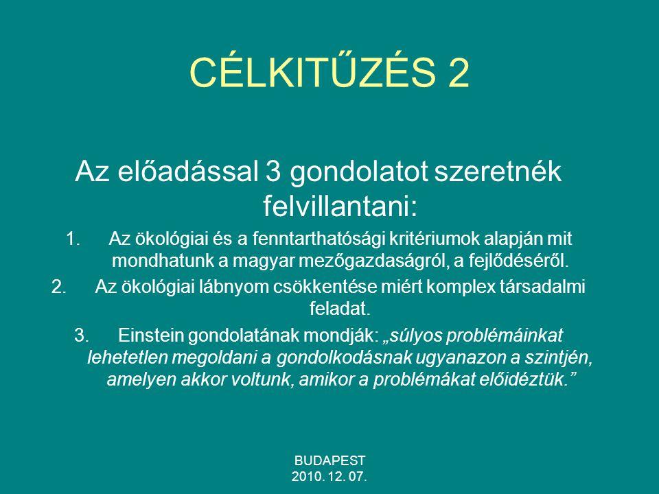 BUDAPEST 2010.12. 07. CÉLKITŰZÉS 3 Hogyan értelmezzük a fenntarthatóság elvét.