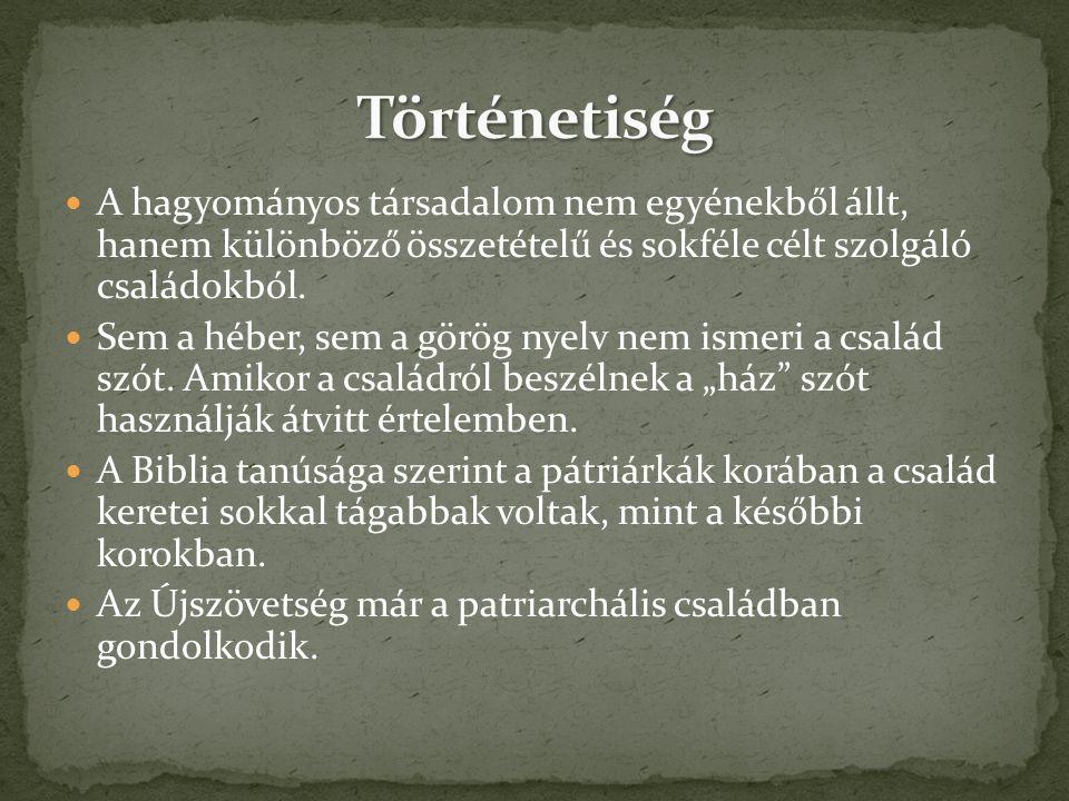 A hagyományos társadalom nem egyénekből állt, hanem különböző összetételű és sokféle célt szolgáló családokból. Sem a héber, sem a görög nyelv nem ism