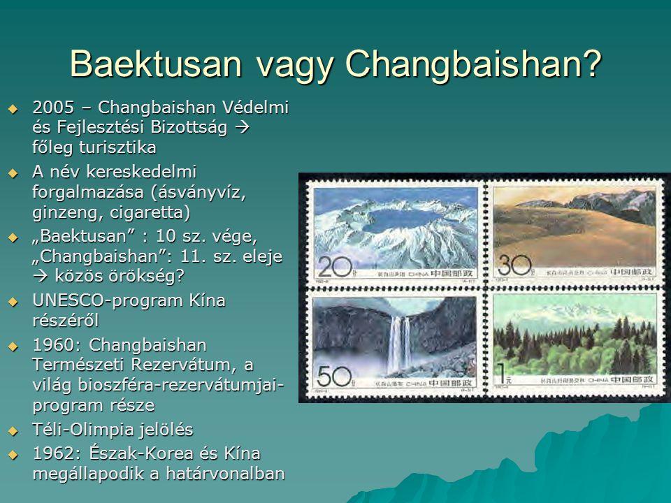 Baektusan vagy Changbaishan?  2005 – Changbaishan Védelmi és Fejlesztési Bizottság  főleg turisztika  A név kereskedelmi forgalmazása (ásványvíz, g