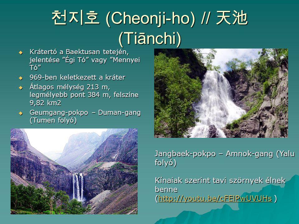 """천지호 (Cheonji-ho) // 天池 (Tiānchi)  Krátertó a Baektusan tetején, jelentése """"Égi Tó"""" vagy """"Mennyei Tó""""  969-ben keletkezett a kráter  Átlagos mélység"""
