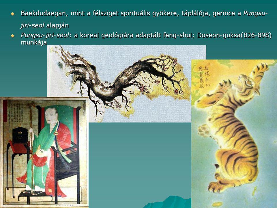  Baekdudaegan, mint a félsziget spirituális gyökere, táplálója, gerince a Pungsu- jiri-seol alapján  Pungsu-jiri-seol: a koreai geológiára adaptált