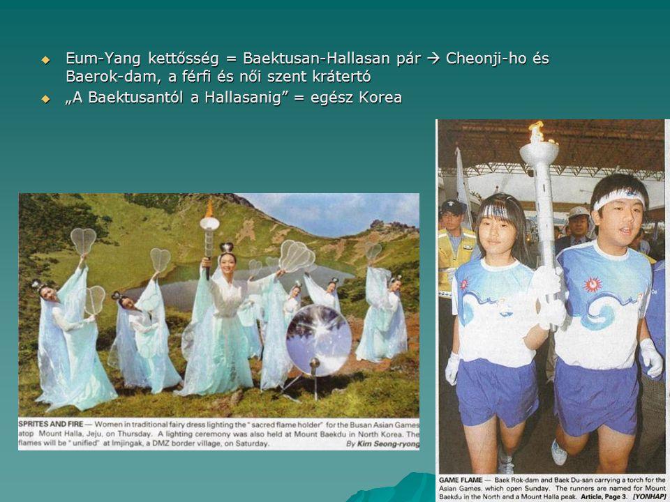 """ Eum-Yang kettősség = Baektusan-Hallasan pár  Cheonji-ho és Baerok-dam, a férfi és női szent krátertó  """"A Baektusantól a Hallasanig"""" = egész Korea"""
