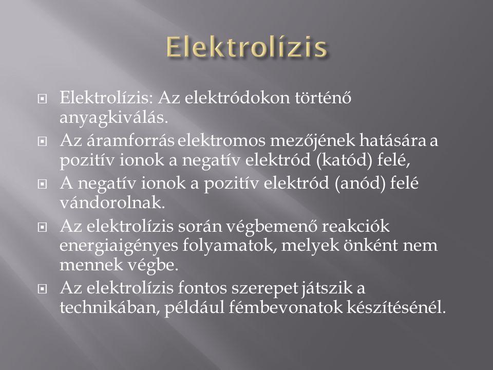  Elektrolízis: Az elektródokon történő anyagkiválás.  Az áramforrás elektromos mezőjének hatására a pozitív ionok a negatív elektród (katód) felé, 