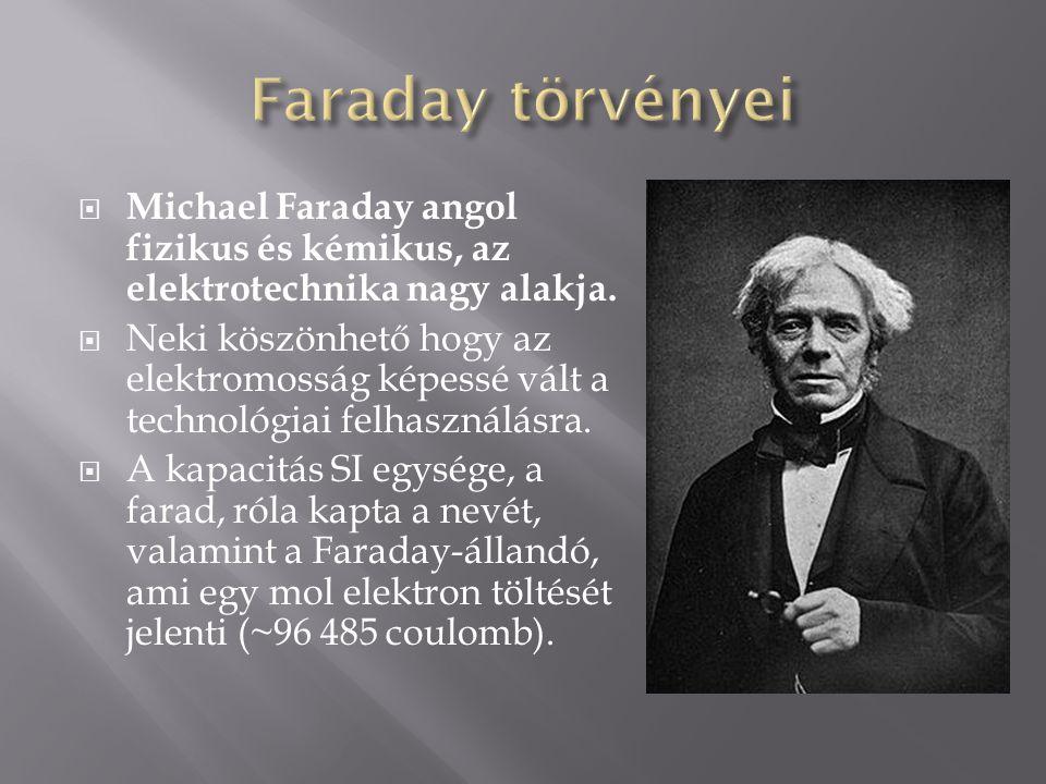  Michael Faraday angol fizikus és kémikus, az elektrotechnika nagy alakja.  Neki köszönhető hogy az elektromosság képessé vált a technológiai felhas