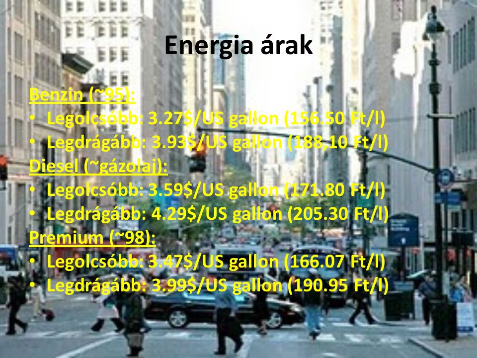 Energia árak Benzin (~95): Legolcsóbb: 3.27$/US gallon (156.50 Ft/l) Legdrágább: 3.93$/US gallon (188,10 Ft/l) Diesel (~gázolaj): Legolcsóbb: 3.59$/US gallon (171.80 Ft/l) Legdrágább: 4.29$/US gallon (205.30 Ft/l) Premium (~98): Legolcsóbb: 3.47$/US gallon (166.07 Ft/l) Legdrágább: 3.99$/US gallon (190.95 Ft/l)