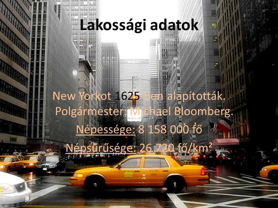 Lakossági adatok New Yorkot 1625-ben alapították.Polgármester: Michael Bloomberg.