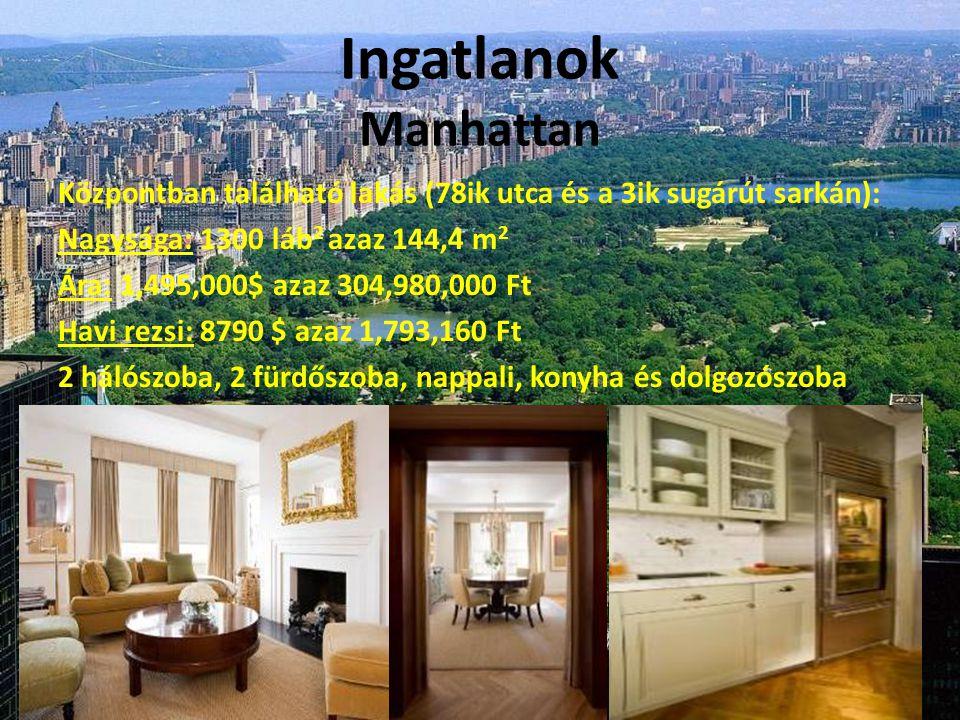 Ingatlanok Manhattan Központban található lakás (78ik utca és a 3ik sugárút sarkán): Nagysága: 1300 láb 2 azaz 144,4 m 2 Ára: 1,495,000$ azaz 304,980,000 Ft Havi rezsi: 8790 $ azaz 1,793,160 Ft 2 hálószoba, 2 fürdőszoba, nappali, konyha és dolgozószoba