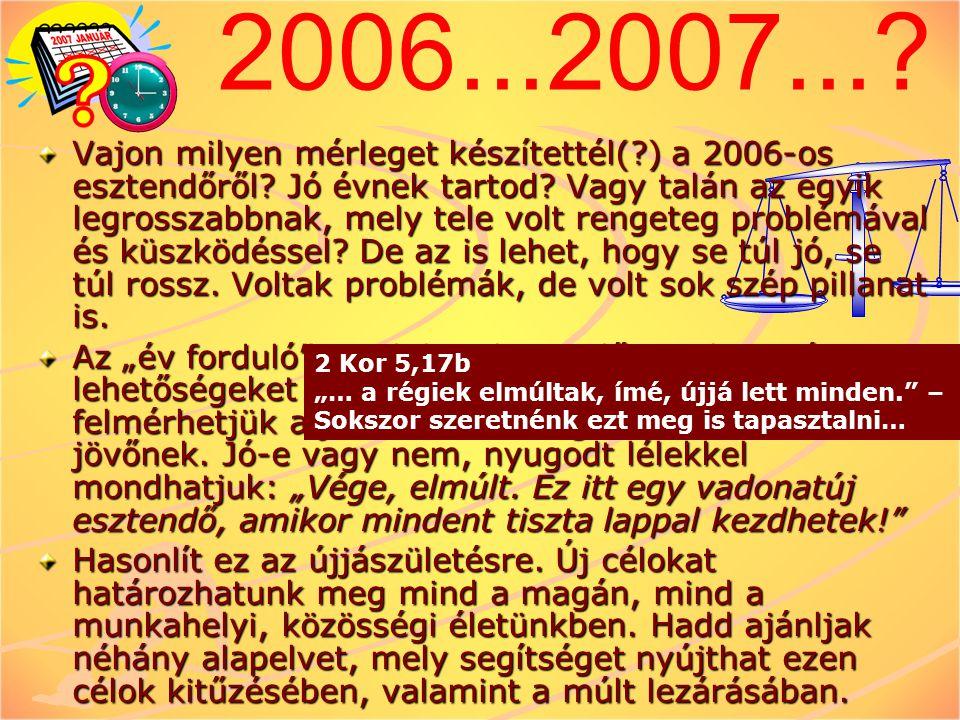 2006...2007...? Vajon milyen mérleget készítettél(?) a 2006-os esztendőről? Jó évnek tartod? Vagy talán az egyik legrosszabbnak, mely tele volt renget