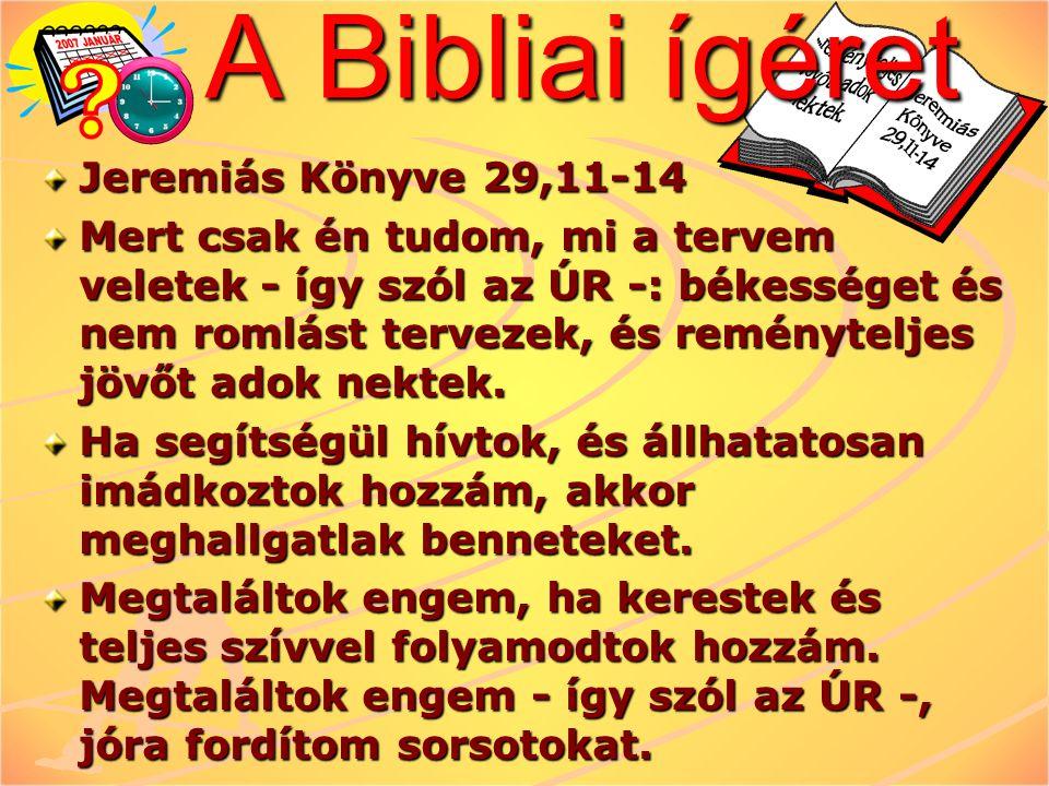 A Bibliai ígéret Jeremiás Könyve 29,11-14 Mert csak én tudom, mi a tervem veletek - így szól az ÚR -: békességet és nem romlást tervezek, és reménytel