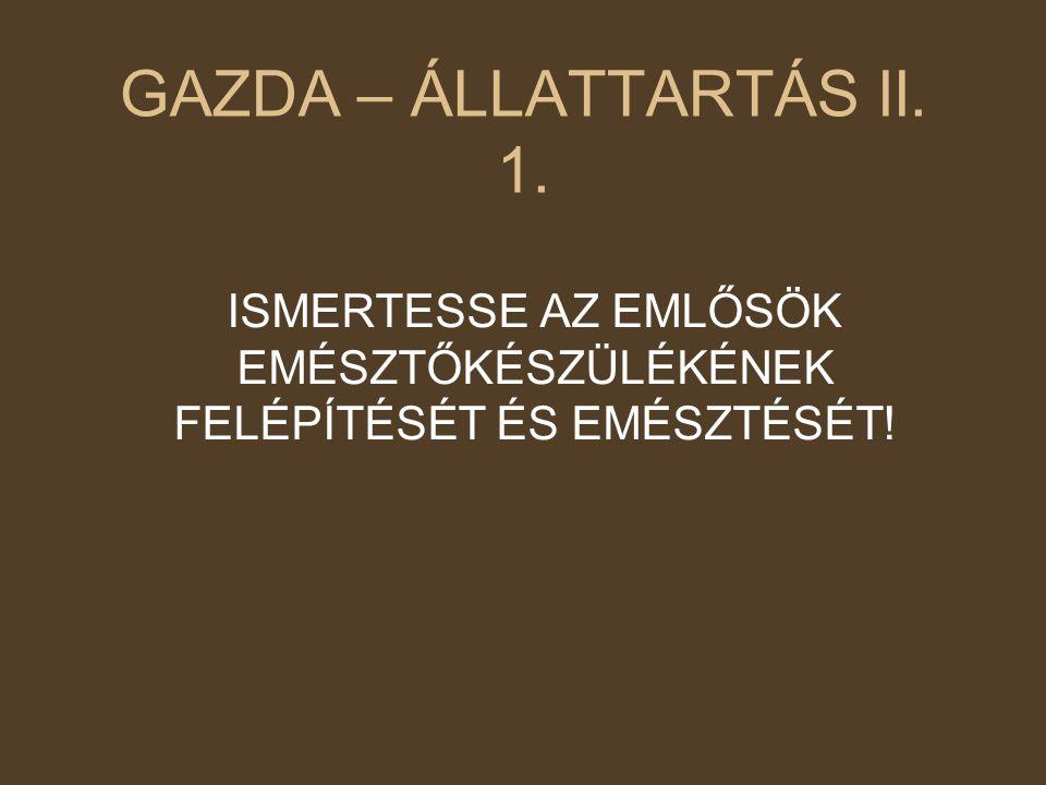 GAZDA – ÁLLATTARTÁS II. 1. ISMERTESSE AZ EMLŐSÖK EMÉSZTŐKÉSZÜLÉKÉNEK FELÉPÍTÉSÉT ÉS EMÉSZTÉSÉT!