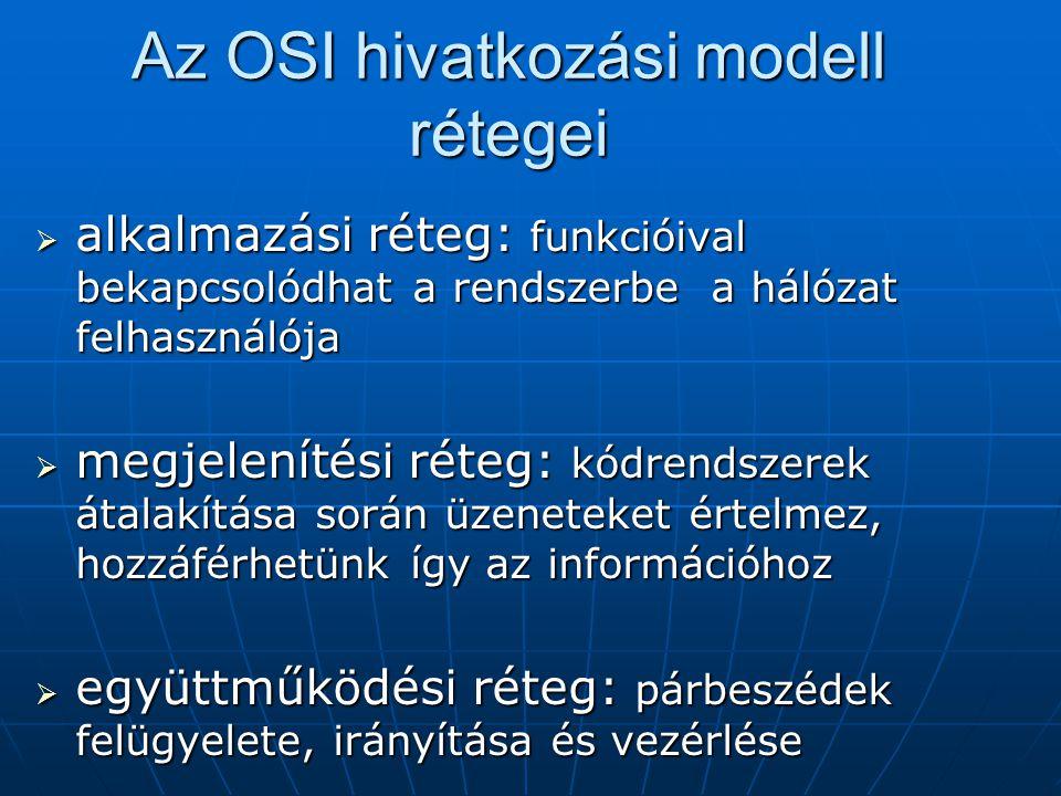 Az OSI hivatkozási modell rétegei  alkalmazási réteg: funkcióival bekapcsolódhat a rendszerbe a hálózat felhasználója  megjelenítési réteg: kódrends
